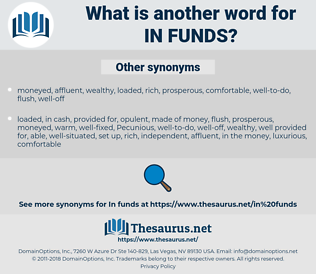 in funds, synonym in funds, another word for in funds, words like in funds, thesaurus in funds