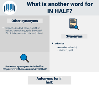 in half, synonym in half, another word for in half, words like in half, thesaurus in half