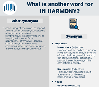 in harmony, synonym in harmony, another word for in harmony, words like in harmony, thesaurus in harmony