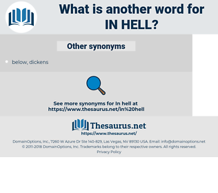 in hell, synonym in hell, another word for in hell, words like in hell, thesaurus in hell
