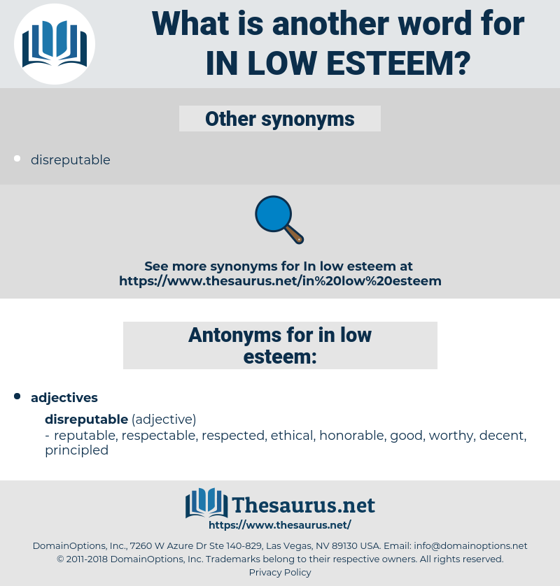 in low esteem, synonym in low esteem, another word for in low esteem, words like in low esteem, thesaurus in low esteem