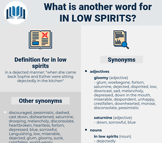 in low spirits, synonym in low spirits, another word for in low spirits, words like in low spirits, thesaurus in low spirits