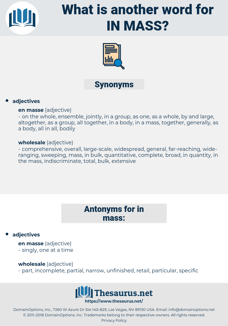 in mass, synonym in mass, another word for in mass, words like in mass, thesaurus in mass