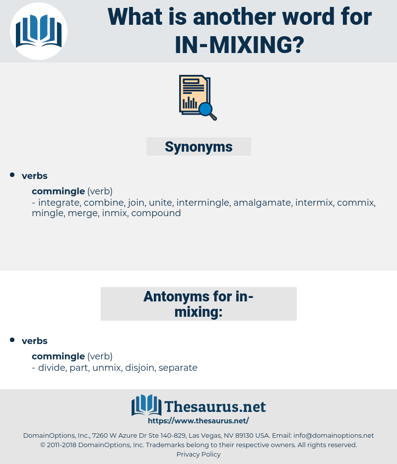 in mixing, synonym in mixing, another word for in mixing, words like in mixing, thesaurus in mixing
