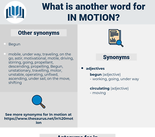 in motion, synonym in motion, another word for in motion, words like in motion, thesaurus in motion