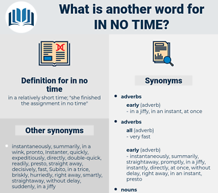 in no time, synonym in no time, another word for in no time, words like in no time, thesaurus in no time
