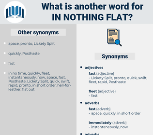 in nothing flat, synonym in nothing flat, another word for in nothing flat, words like in nothing flat, thesaurus in nothing flat
