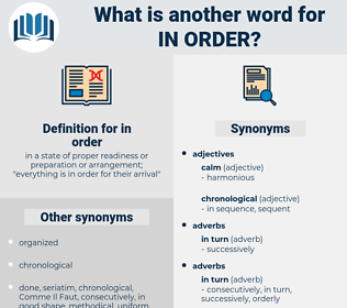 in order, synonym in order, another word for in order, words like in order, thesaurus in order