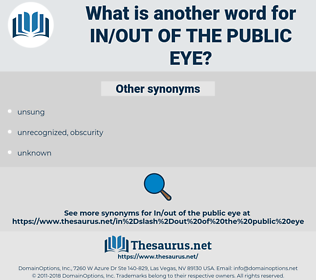 in/out of the public eye, synonym in/out of the public eye, another word for in/out of the public eye, words like in/out of the public eye, thesaurus in/out of the public eye