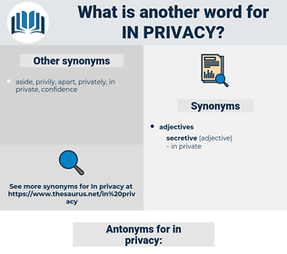 in privacy, synonym in privacy, another word for in privacy, words like in privacy, thesaurus in privacy