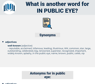 in public eye, synonym in public eye, another word for in public eye, words like in public eye, thesaurus in public eye