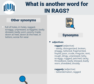 in rags, synonym in rags, another word for in rags, words like in rags, thesaurus in rags