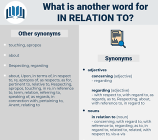 in relation to, synonym in relation to, another word for in relation to, words like in relation to, thesaurus in relation to