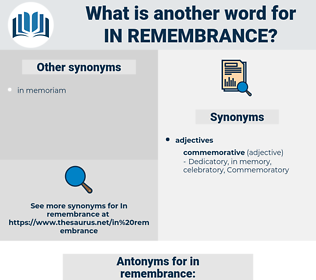 in remembrance, synonym in remembrance, another word for in remembrance, words like in remembrance, thesaurus in remembrance