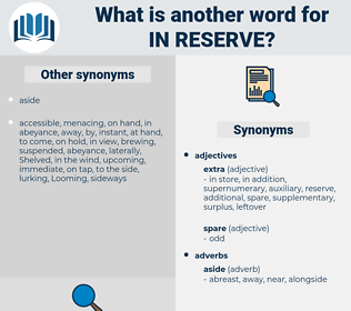 in reserve, synonym in reserve, another word for in reserve, words like in reserve, thesaurus in reserve