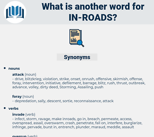 in roads, synonym in roads, another word for in roads, words like in roads, thesaurus in roads