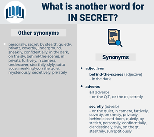 in secret, synonym in secret, another word for in secret, words like in secret, thesaurus in secret