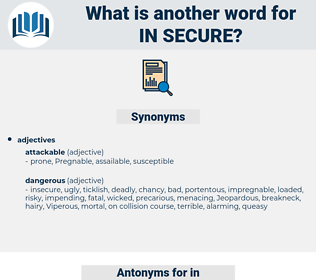 in secure, synonym in secure, another word for in secure, words like in secure, thesaurus in secure