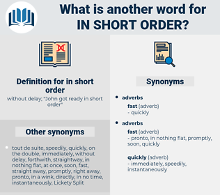 in short order, synonym in short order, another word for in short order, words like in short order, thesaurus in short order