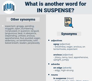 in suspense, synonym in suspense, another word for in suspense, words like in suspense, thesaurus in suspense