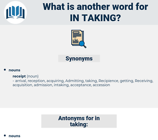 in taking, synonym in taking, another word for in taking, words like in taking, thesaurus in taking