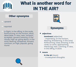 in the air, synonym in the air, another word for in the air, words like in the air, thesaurus in the air