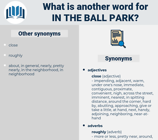 in the ball park, synonym in the ball park, another word for in the ball park, words like in the ball park, thesaurus in the ball park