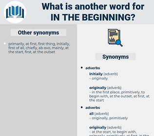 in the beginning, synonym in the beginning, another word for in the beginning, words like in the beginning, thesaurus in the beginning