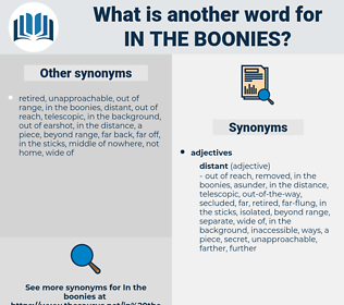 in the boonies, synonym in the boonies, another word for in the boonies, words like in the boonies, thesaurus in the boonies