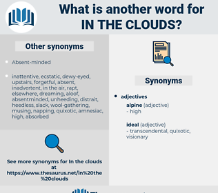 in the clouds, synonym in the clouds, another word for in the clouds, words like in the clouds, thesaurus in the clouds