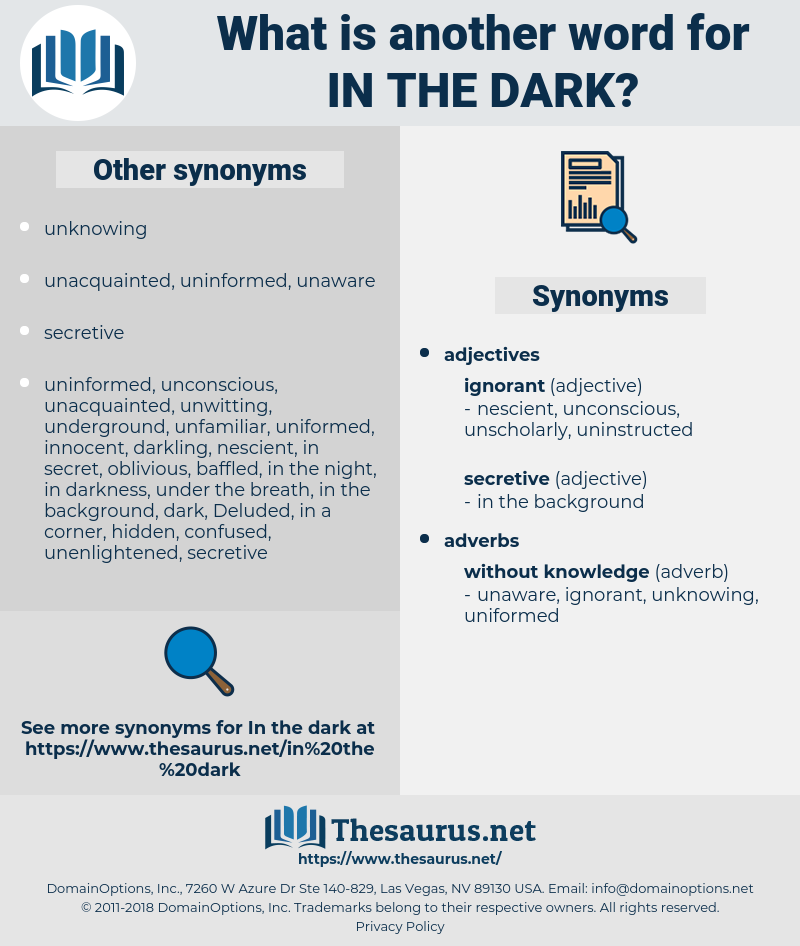 in the dark, synonym in the dark, another word for in the dark, words like in the dark, thesaurus in the dark