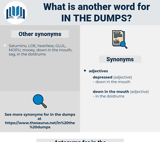 in the dumps, synonym in the dumps, another word for in the dumps, words like in the dumps, thesaurus in the dumps