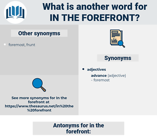 in the forefront, synonym in the forefront, another word for in the forefront, words like in the forefront, thesaurus in the forefront