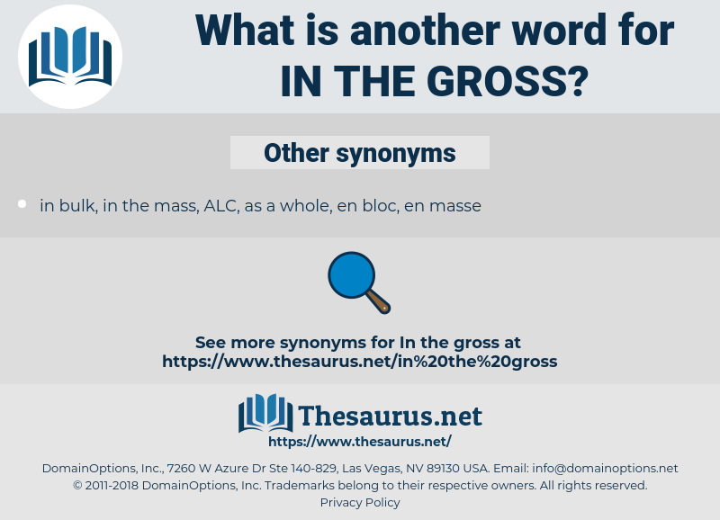 in the gross, synonym in the gross, another word for in the gross, words like in the gross, thesaurus in the gross
