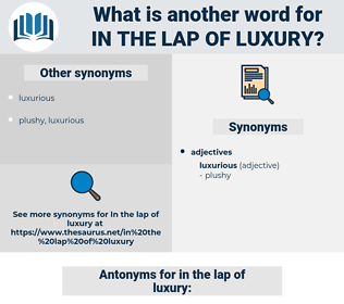 in the lap of luxury, synonym in the lap of luxury, another word for in the lap of luxury, words like in the lap of luxury, thesaurus in the lap of luxury