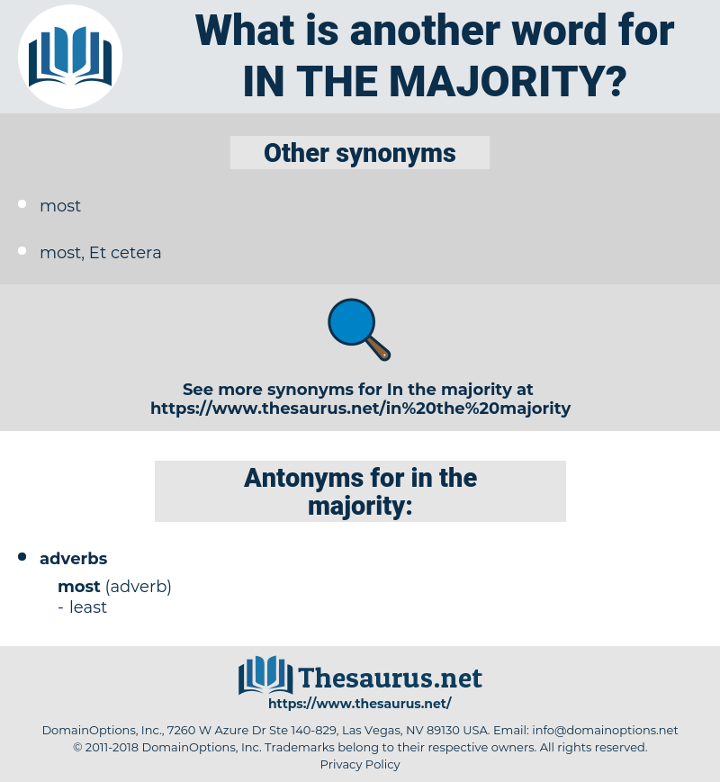 in the majority, synonym in the majority, another word for in the majority, words like in the majority, thesaurus in the majority