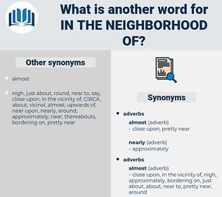 in the neighborhood of, synonym in the neighborhood of, another word for in the neighborhood of, words like in the neighborhood of, thesaurus in the neighborhood of