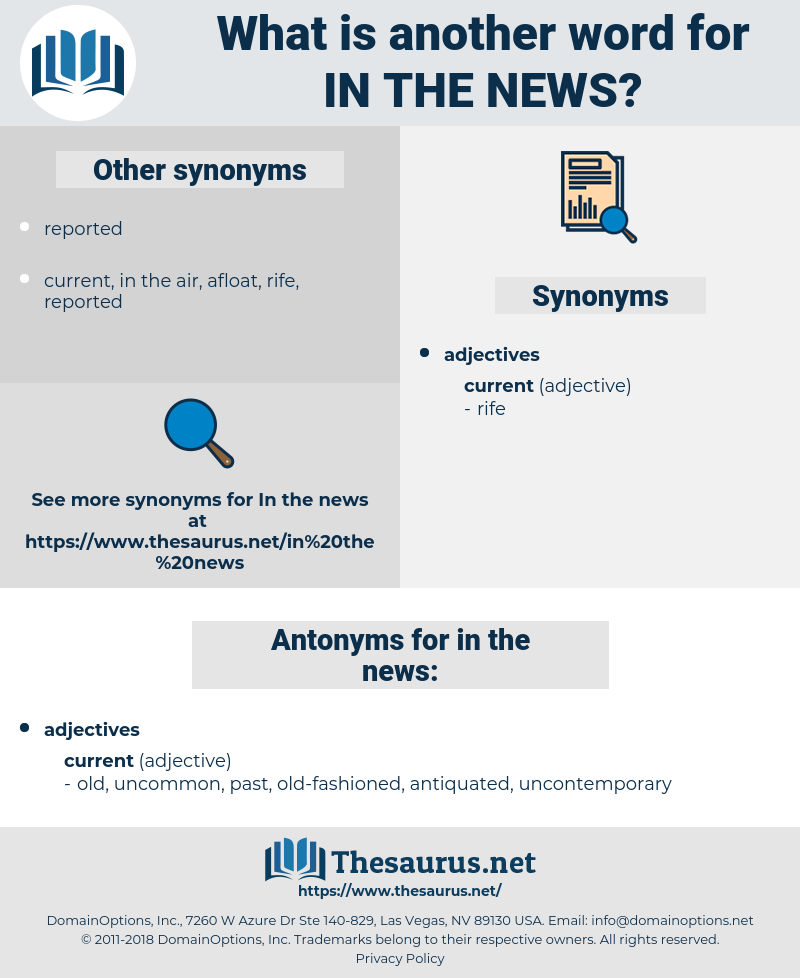 in the news, synonym in the news, another word for in the news, words like in the news, thesaurus in the news