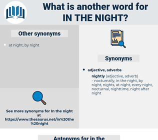 in the night, synonym in the night, another word for in the night, words like in the night, thesaurus in the night