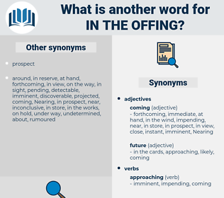in the offing, synonym in the offing, another word for in the offing, words like in the offing, thesaurus in the offing