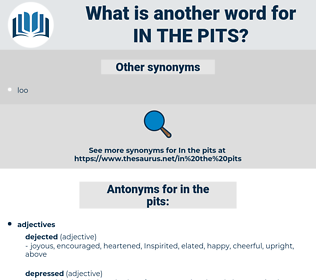in the pits, synonym in the pits, another word for in the pits, words like in the pits, thesaurus in the pits