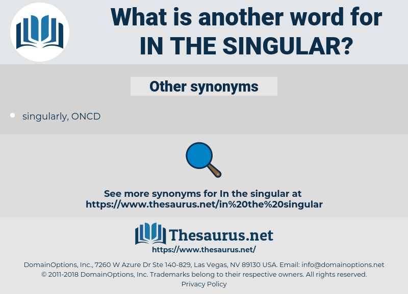 in the singular, synonym in the singular, another word for in the singular, words like in the singular, thesaurus in the singular