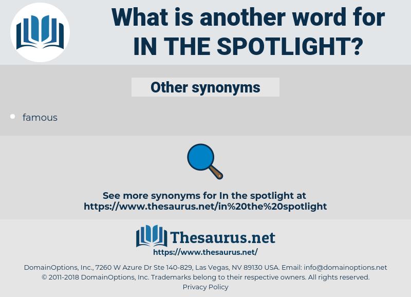 in the spotlight, synonym in the spotlight, another word for in the spotlight, words like in the spotlight, thesaurus in the spotlight