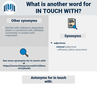 in touch with, synonym in touch with, another word for in touch with, words like in touch with, thesaurus in touch with