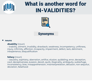 in-validities, synonym in-validities, another word for in-validities, words like in-validities, thesaurus in-validities
