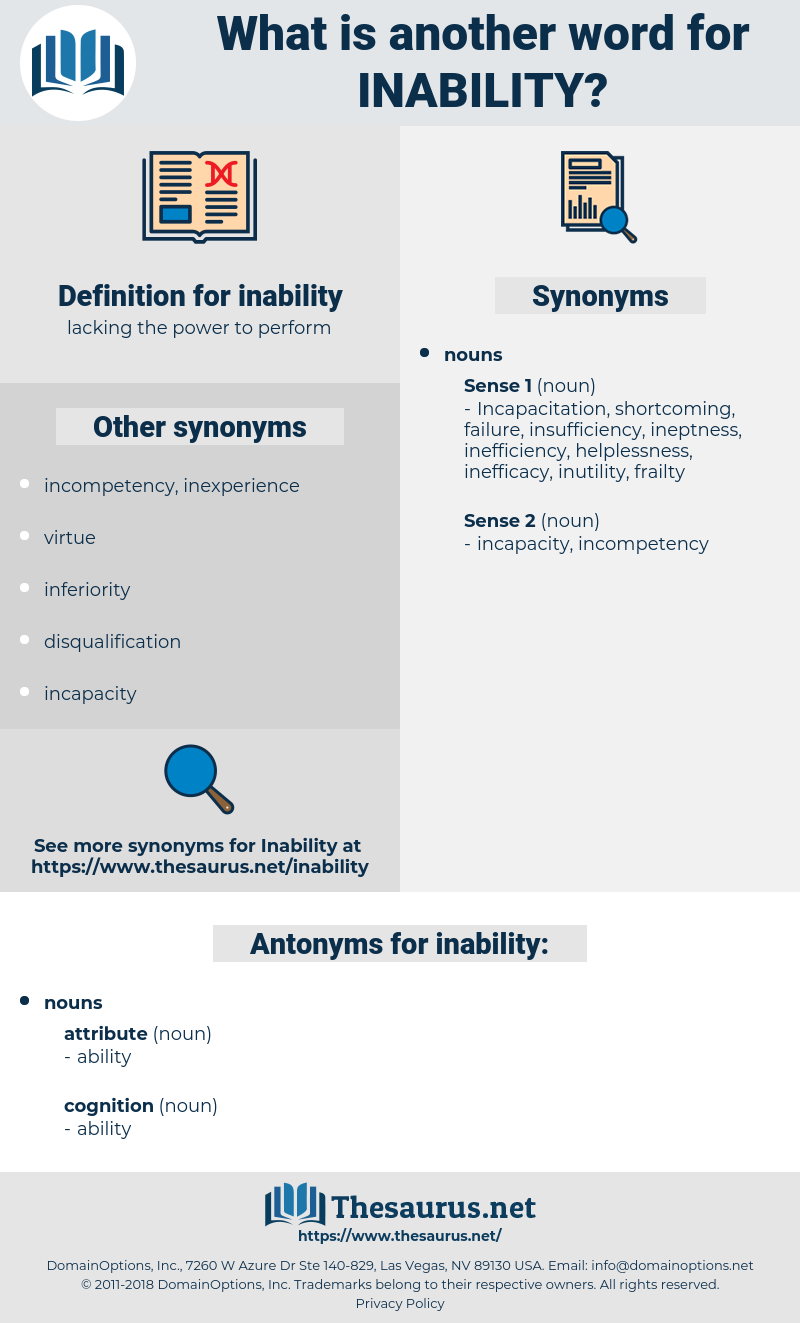 inability, synonym inability, another word for inability, words like inability, thesaurus inability