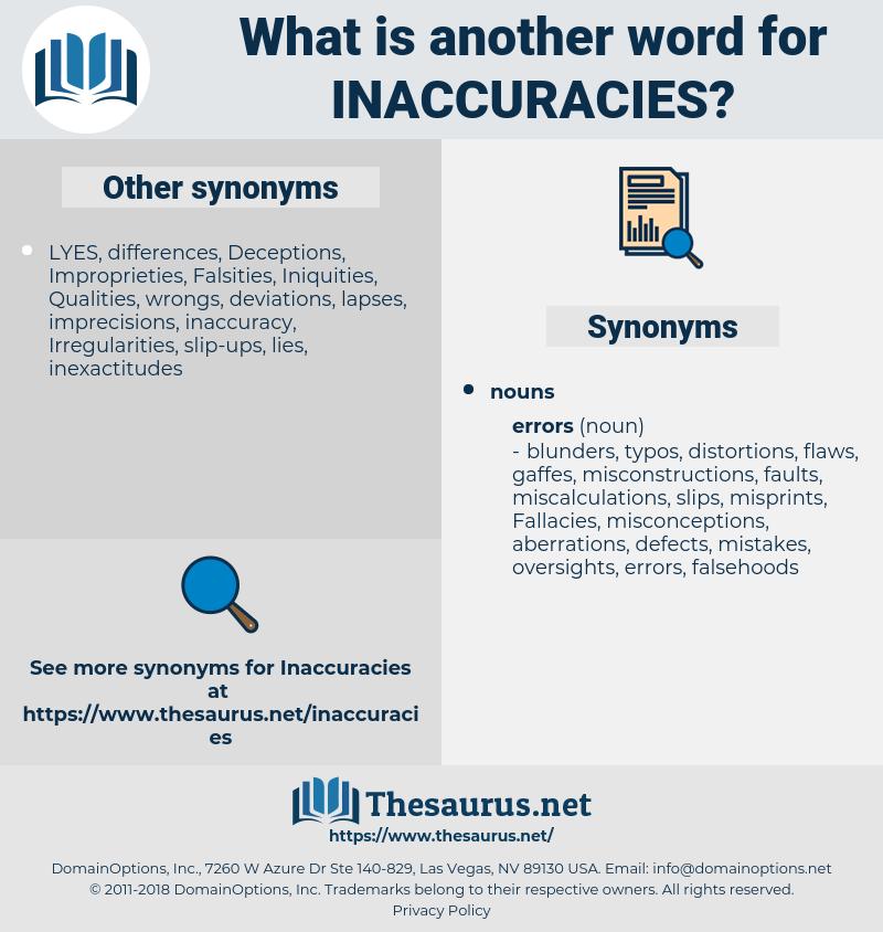 Inaccuracies, synonym Inaccuracies, another word for Inaccuracies, words like Inaccuracies, thesaurus Inaccuracies