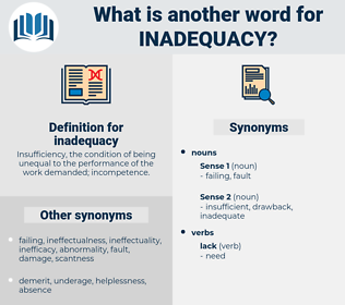 inadequacy, synonym inadequacy, another word for inadequacy, words like inadequacy, thesaurus inadequacy