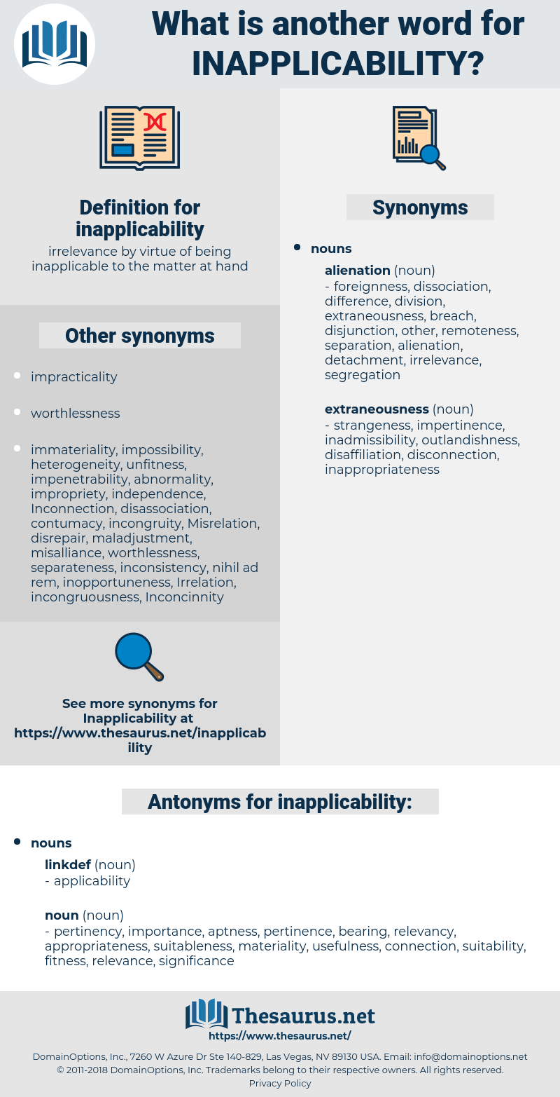 inapplicability, synonym inapplicability, another word for inapplicability, words like inapplicability, thesaurus inapplicability