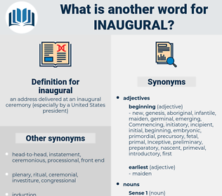 inaugural, synonym inaugural, another word for inaugural, words like inaugural, thesaurus inaugural